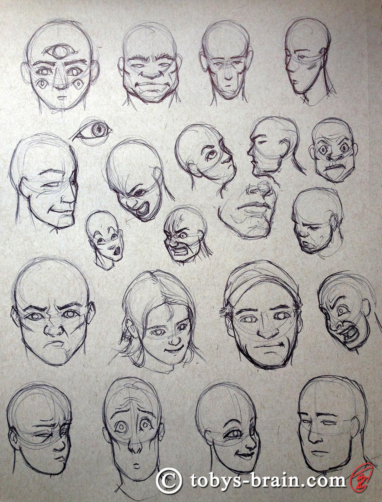Toby-Gray-manga-head-studies-2