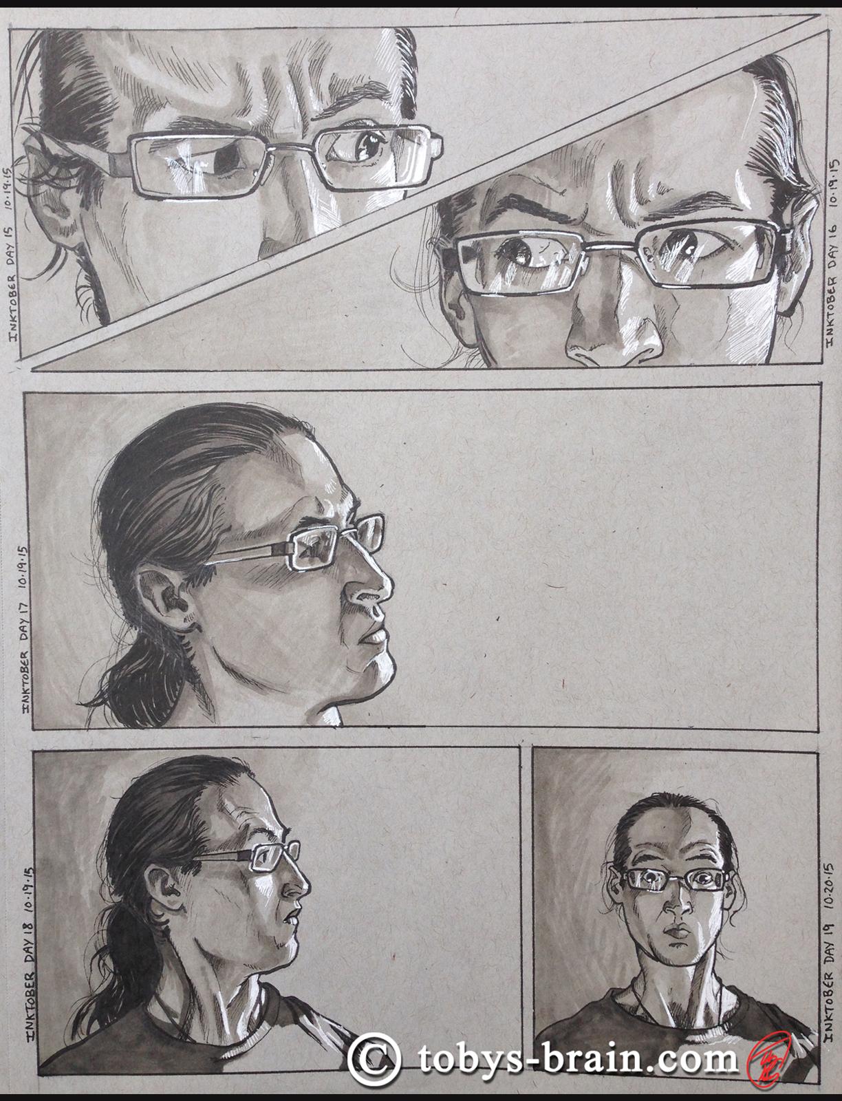 ink self-portrait series for October/Inktober 2015