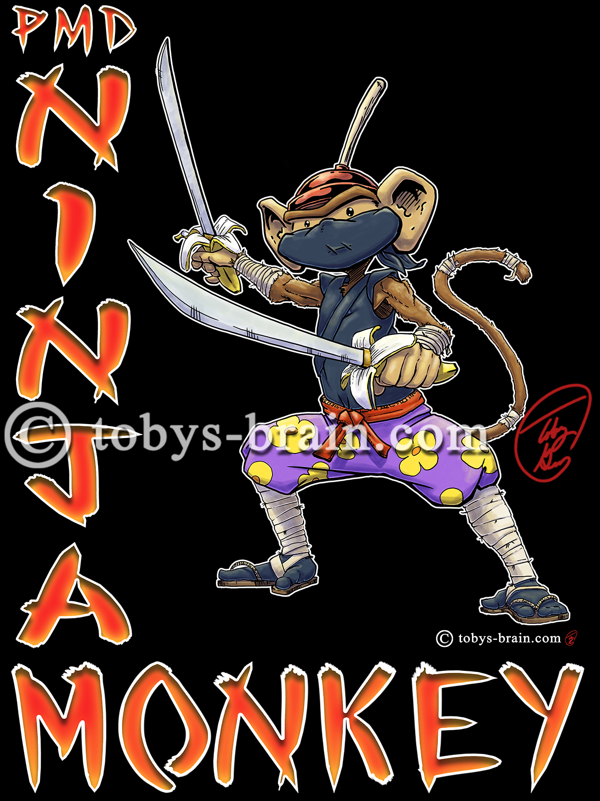 T-shirt design of my character Plunger Monkey Dynamo dressed as a ninja