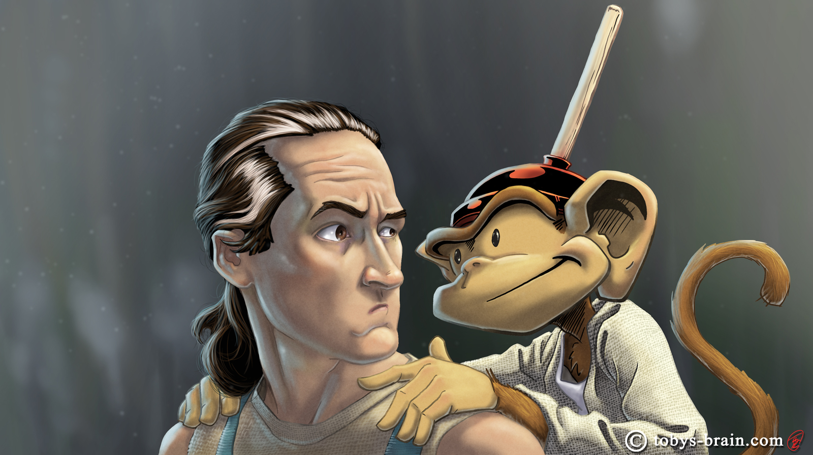 A digital painting of myself as Luke Skywalker and my character, Plunger Monkey Dynamo, as Yoda. I did this to commemorate going to see Star Wars: The Force Awakens and to highlight the creative impact Star Wars has had on my life