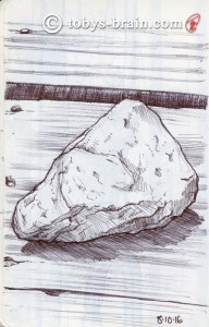 I found this cool rock at the water front, so I set it on the picnic table and drew it.  I liked the contrasting textures of the rough rock on the weathered smooth table with the grain patterns showing strongly.